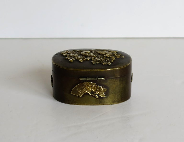 Japanese Bronze and Brass Embossed Small Lidded Box, 19th Century Meiji Period For Sale 4