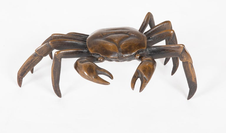 Cast Japanese Bronze Crab Sculpture