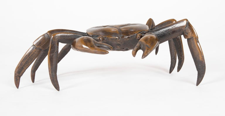 Japanese Bronze Crab Sculpture In Good Condition In Stamford, CT