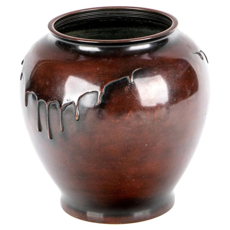 Japanese Bronze Drip Design Ikebana Vase