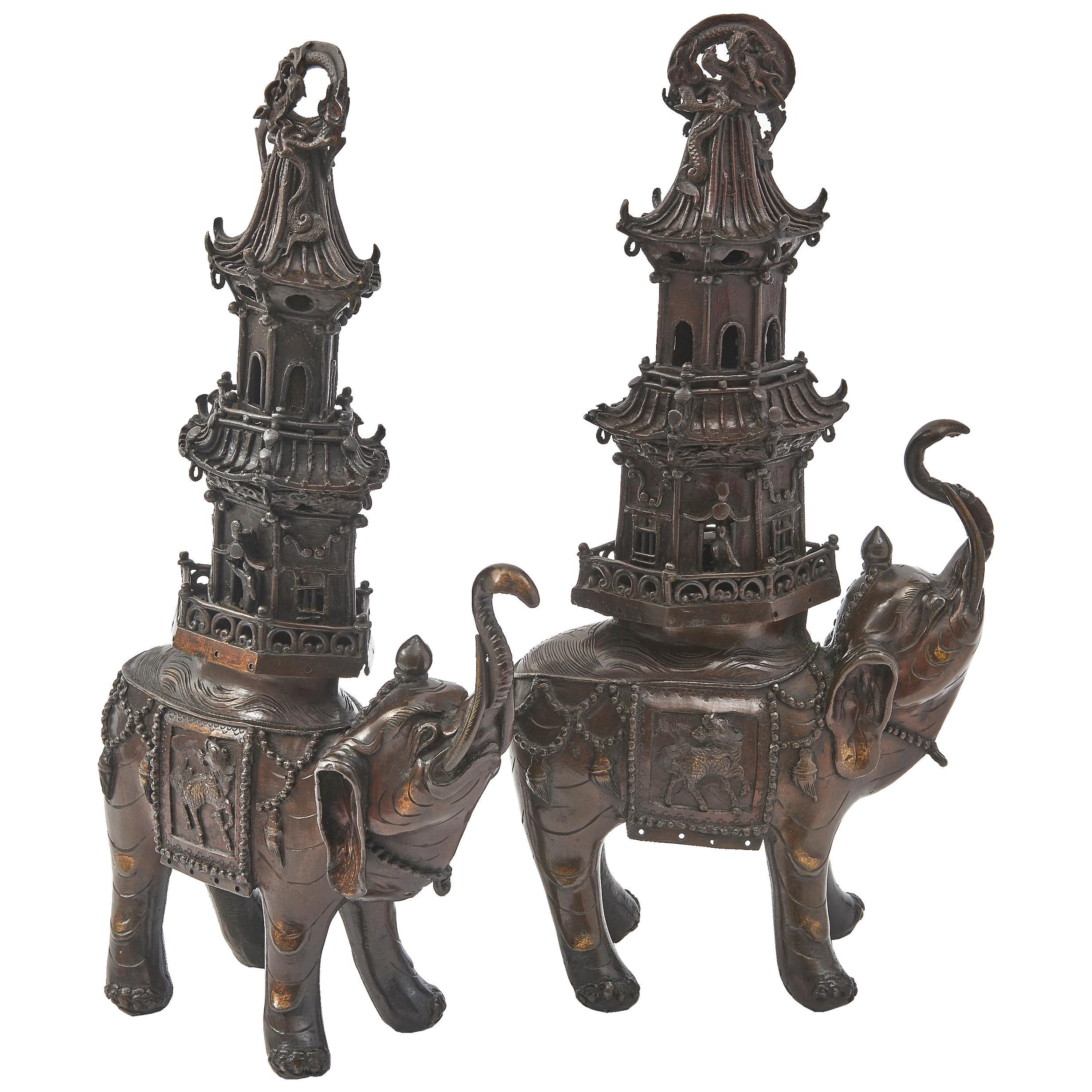 Japanese Bronze Elephant Incense Burners, circa 1890