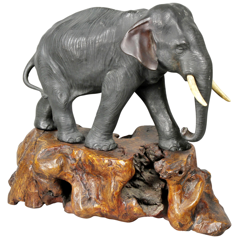 Japanese Bronze Elephant on Burl Wood Base