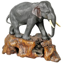 Japanese Bronze Elephant on Burl Wood Base