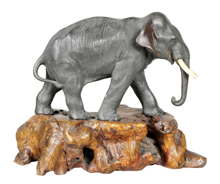 Late 19th Century Japanese Bronze Elephant on Burl Wood Base For Sale