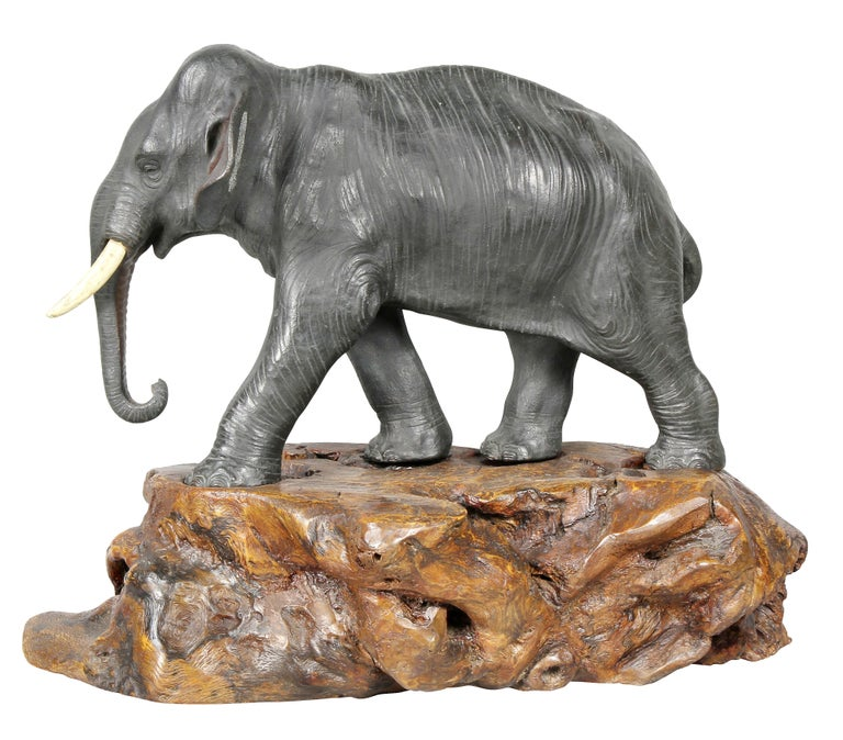 Japanese Bronze Elephant on Burl Wood Base For Sale 2