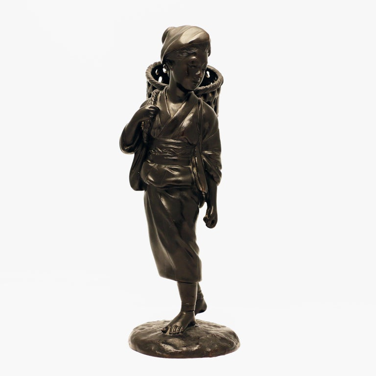 20th Century Japanese Bronze Figure, a Peasant Girl with a Wicker Basket For Sale