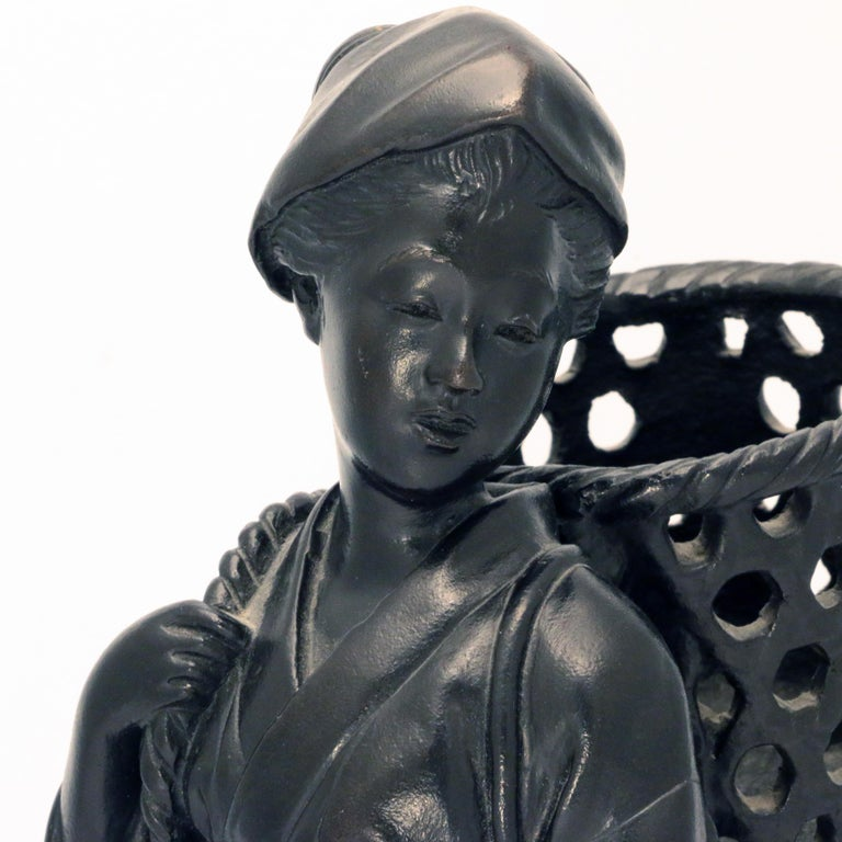 Japanese Bronze Figure, a Peasant Girl with a Wicker Basket For Sale 1
