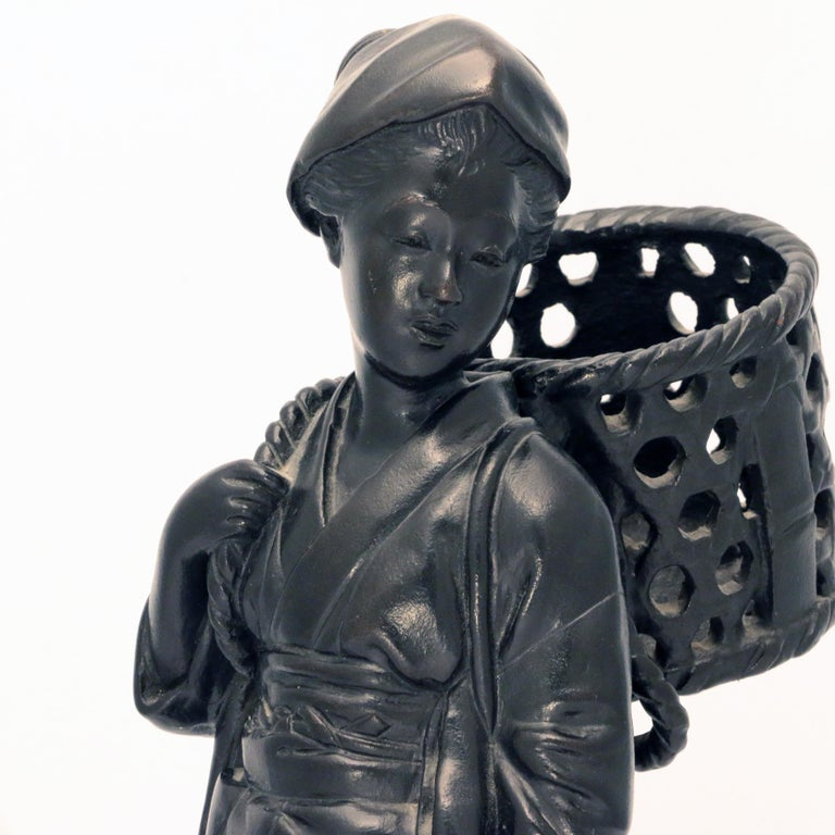Japanese Bronze Figure, a Peasant Girl with a Wicker Basket For Sale 2