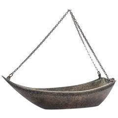 Japanese Bronze Ikebana Vase in the Shape of a Boat