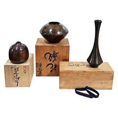 Japanese Bronze Ikebana Vases, Early 20th Century