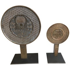 Japanese Bronze Mirrors on Stands