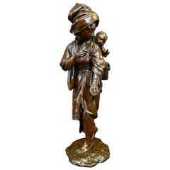 Japanese Bronze Mother & Child