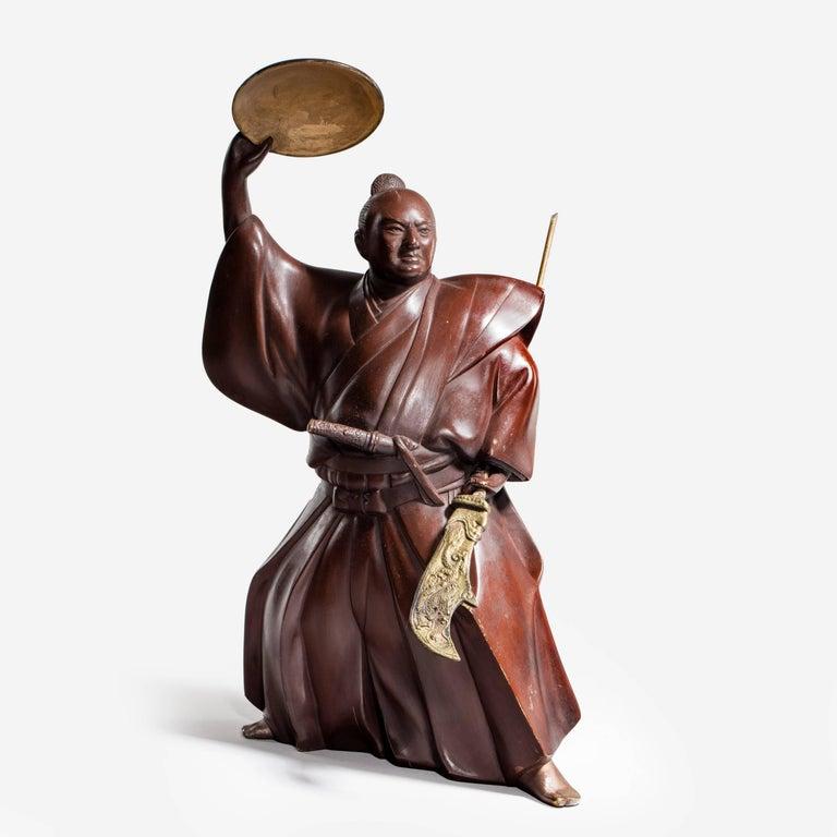 Japanese Bronze of a Samurai For Sale 1