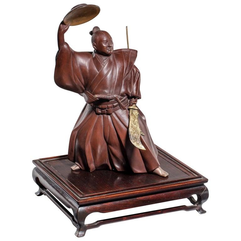 Japanese Bronze of a Samurai For Sale