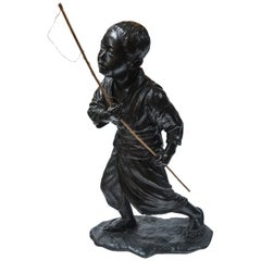 Japanese Bronze of a Young Boy with Fishing Pole