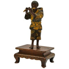 Japanese Bronze of Miyao in Patinated and Gilded Bronze
