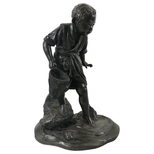 Japanese Bronze Okimono of a Fisher Boy, Signed Maruki, Meiji Period
