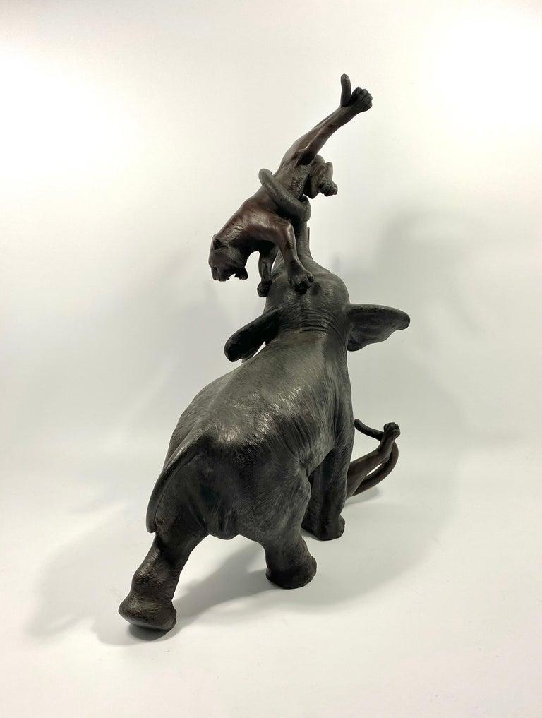 Japanese Bronze Okimono, Omori Misumoto Saku, Meiji Period For Sale 10