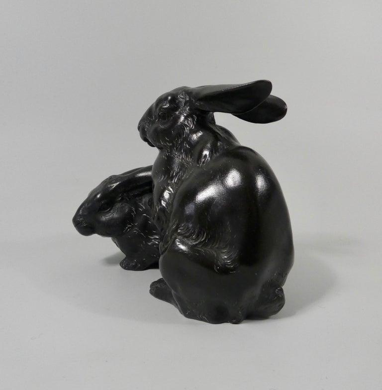 Japanese Bronze Rabbits Okimono, Okazaki Sessei, Meiji Period For Sale 3