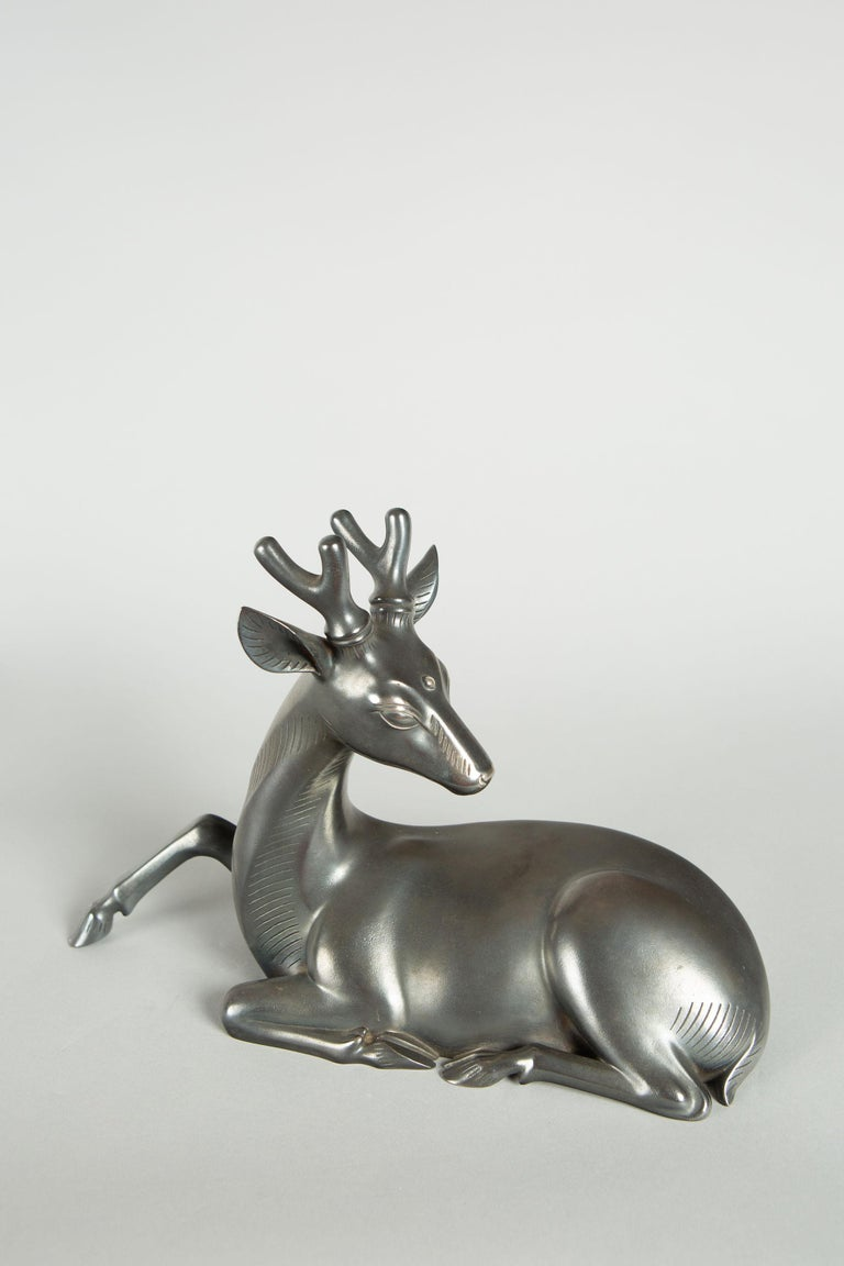 Art Deco Japanese Bronze Stag with Third Eye For Sale
