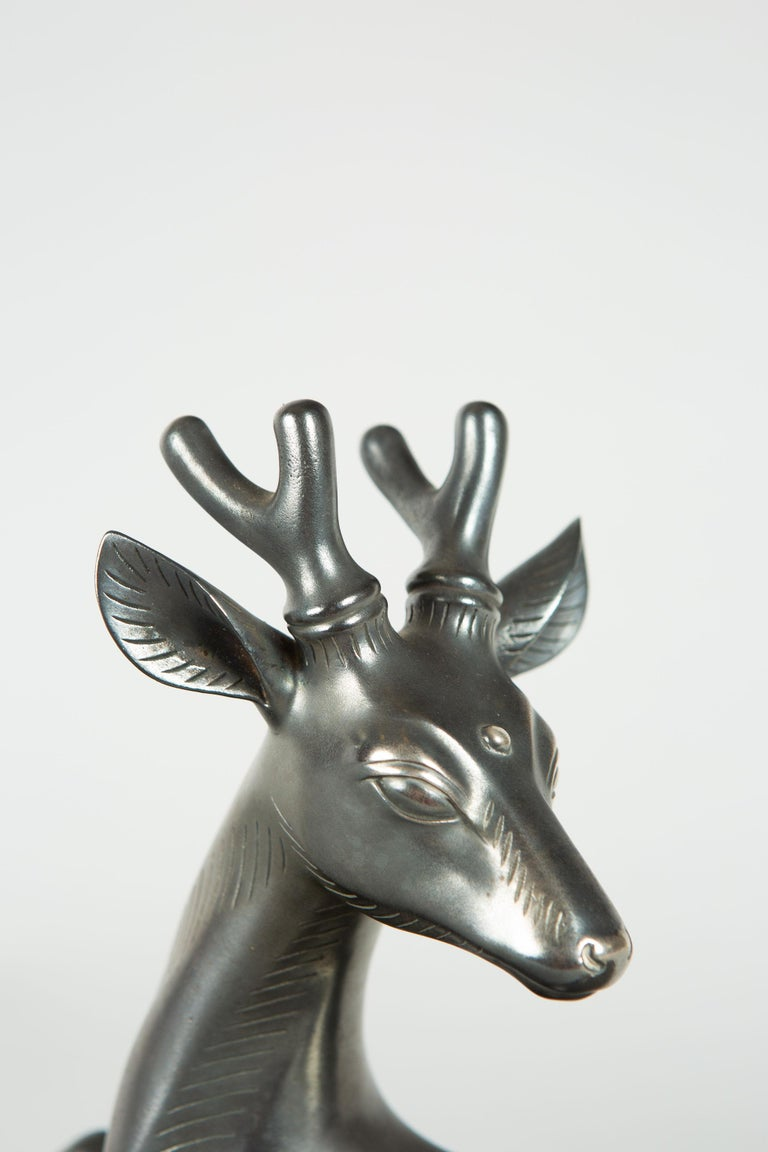 Japanese Bronze Stag with Third Eye For Sale 1