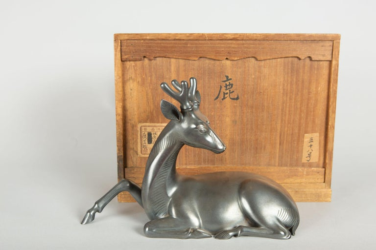 Japanese Bronze Stag with Third Eye For Sale 3