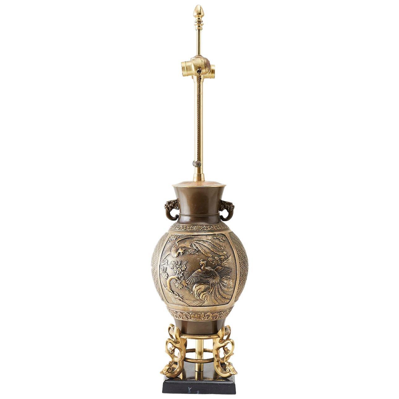 Japanese Bronze Urn Vase Mounted as Table Lamp