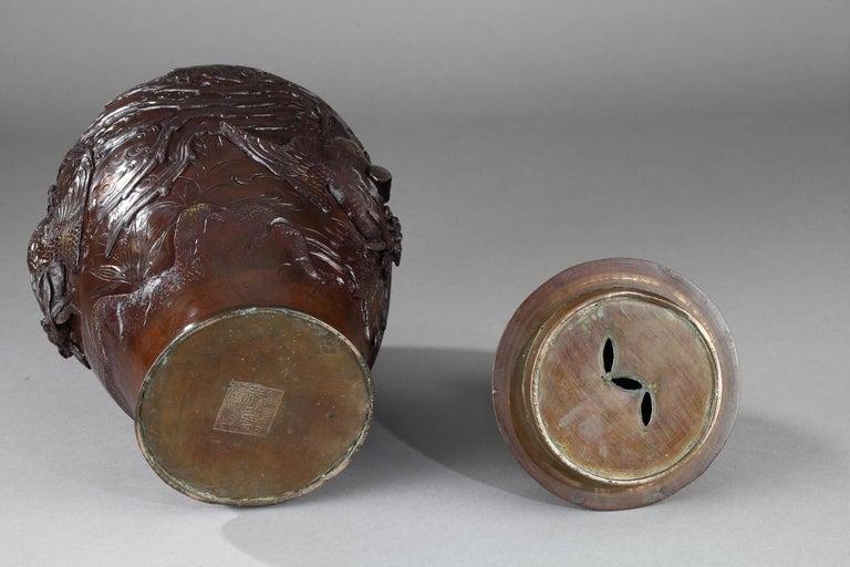Japanese Bronze Vase, Meiji Period, circa 1880 For Sale 2