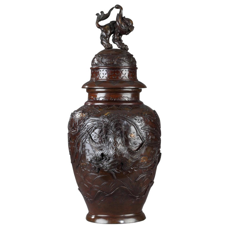 Japanese Bronze Vase, Meiji Period, circa 1880 For Sale