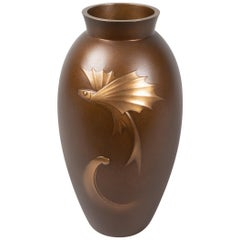 Japanese Bronze Vase with Flying Fish Design