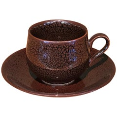 Japanese Brown Hand-Glazed Porcelain Cup and Saucer, Contemporary Master Artist