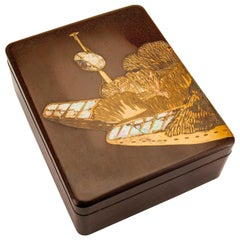 Japanese Brown Lacquer Rinpa Style Document Box with Mother of Pearl Inlay