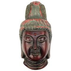 Japanese Bugaku Carved Wood Mask of a Bodhisattva