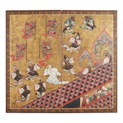 Japanese Edo Bugaku Imperial Court Dance Two-Panel Screen
