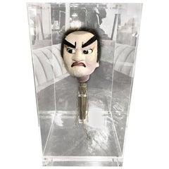 Japanese Bunraku Ningyo Joruri Meiji Puppet Head in Display Case