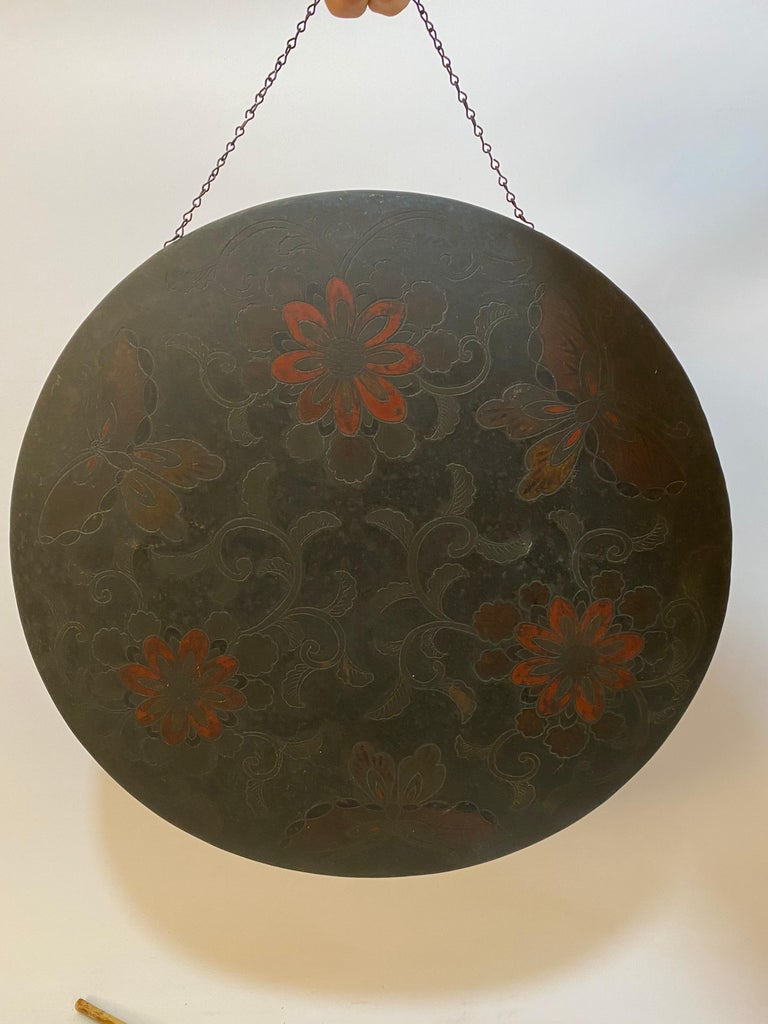 Japonisme Japanese Butterfly and Floral Enameled Brass Gong For Sale