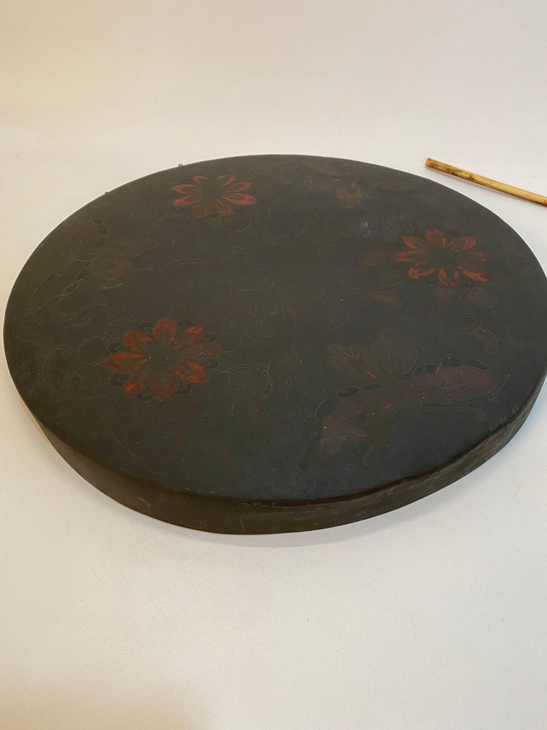 Japanese Butterfly and Floral Enameled Brass Gong In Good Condition For Sale In Garnerville, NY