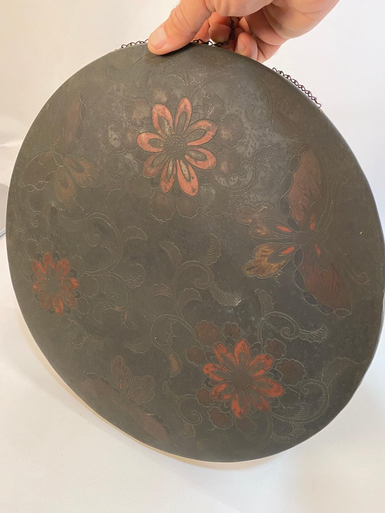 19th Century Japanese Butterfly and Floral Enameled Brass Gong For Sale