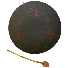 Japanese Butterfly and Floral Enameled Brass Gong