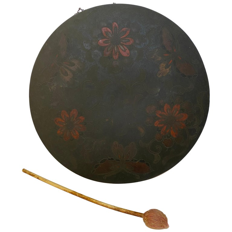 Japanese Butterfly and Floral Enameled Brass Gong For Sale