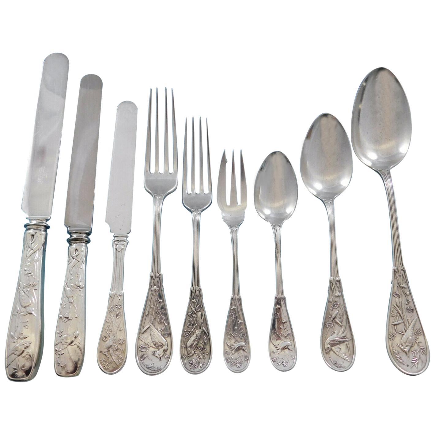 Japanese Tiffany & Co. Sterling Silver Flatware Set Service 108 Pc Audubon Birds