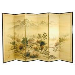 Japanese Byobu Hand Painted Silk Screen
