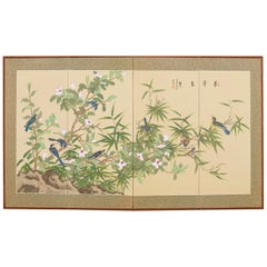 Japanese Byobu Style Screen Spring Song Birds and Flowers