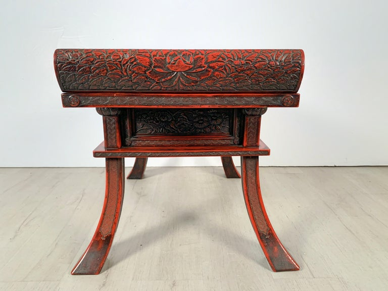 Japanese Carved and Red Lacquer Kamakura-Bori Altar Table, Mid-19th Century For Sale 4