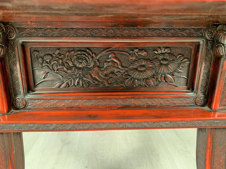 Japanese Carved and Red Lacquer Kamakura-Bori Altar Table, Mid-19th Century For Sale 5