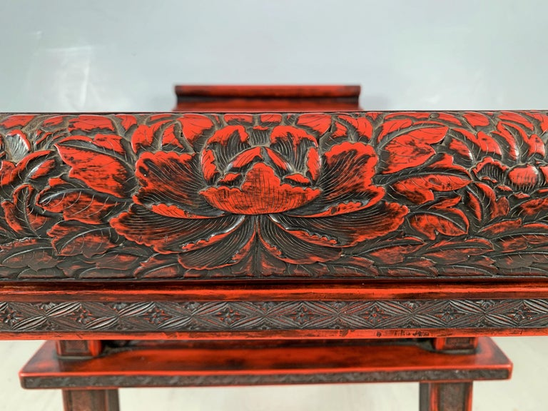 Japanese Carved and Red Lacquer Kamakura-Bori Altar Table, Mid-19th Century For Sale 6