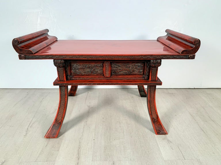 Japanese Carved and Red Lacquer Kamakura-Bori Altar Table, Mid-19th Century For Sale 7