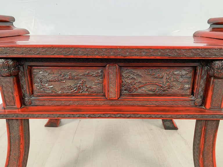 Japanese Carved and Red Lacquer Kamakura-Bori Altar Table, Mid-19th Century For Sale 8