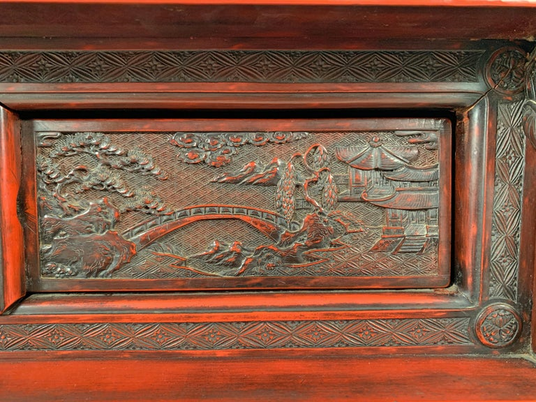 Japanese Carved and Red Lacquer Kamakura-Bori Altar Table, Mid-19th Century For Sale 9