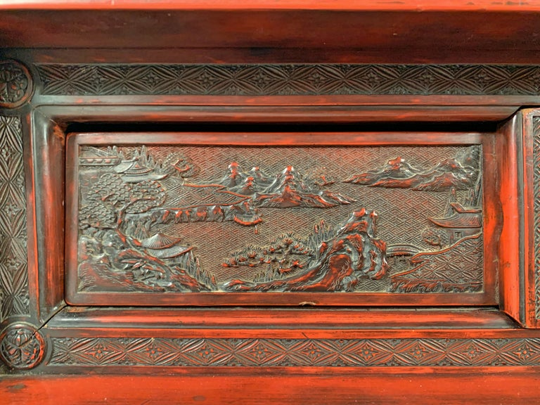 Japanese Carved and Red Lacquer Kamakura-Bori Altar Table, Mid-19th Century For Sale 10